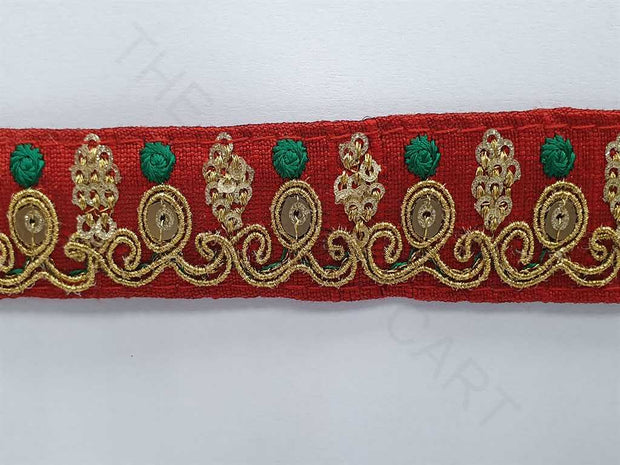 Red Zari and Sequins Work Embroidered Border | The Design Cart