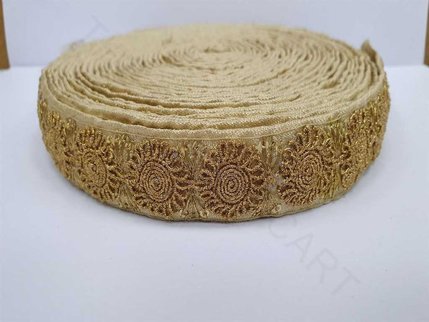 Golden Zari Work Embroidered Border | The Design Cart