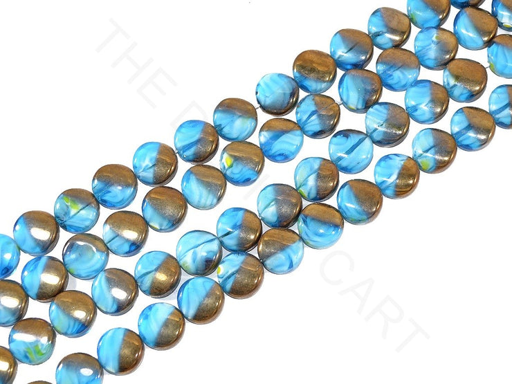 Blue Golden Round Designer Glass Beads | The Design Cart (3824459153442)