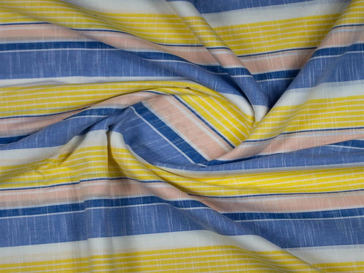 Yellow Blue Stripes Handloom Cotton Fabric