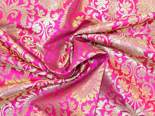 Pink Golden Flower Design Banaras Brocade Fabrics