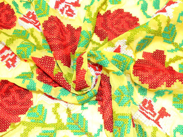Yellow Red Flower Design Embroidedred Georgete Fabrics