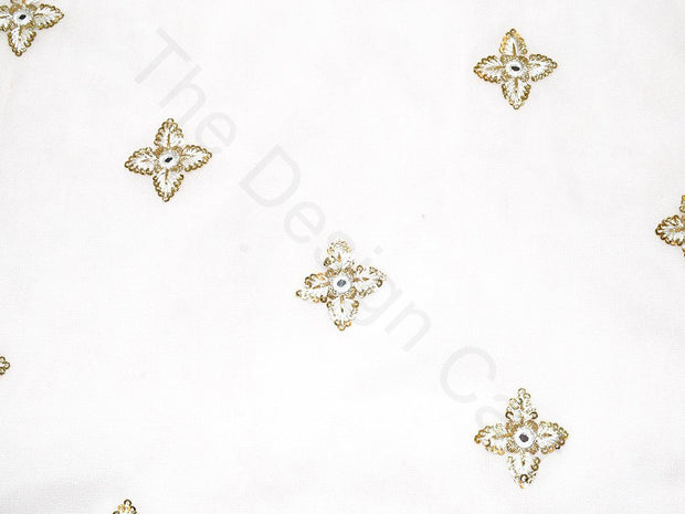 White Sequins Flower Design Viscose Georgette Fabric