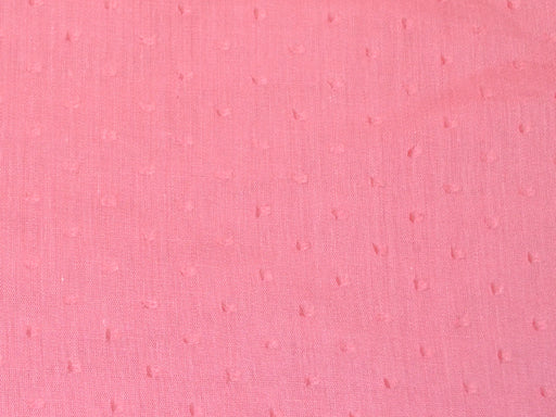 Peach Pink Cotton Dobby Embroidered Fabric