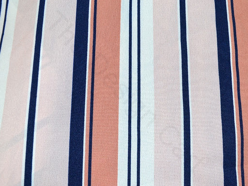 Pink Stripes Design Polyester Crepe Fabric