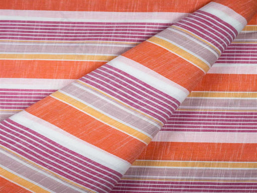 Orange Pink Stripes Handloom Cotton Fabric