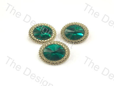 Floral Green Crystal Round Metal Buttons - The Design Cart