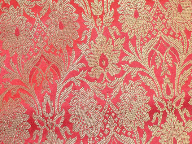 Red Golden Flower Design Banaras  Brocade  Fabrics