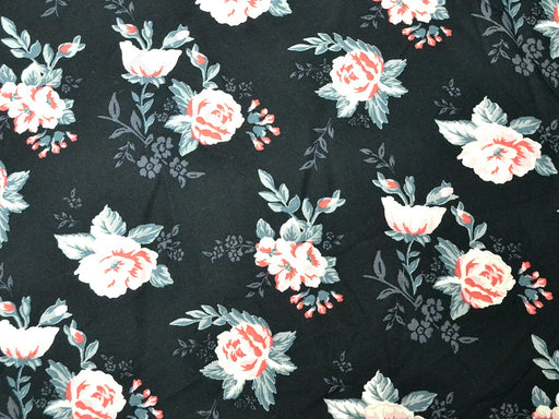 Black Pink Roses Rayon Fabric