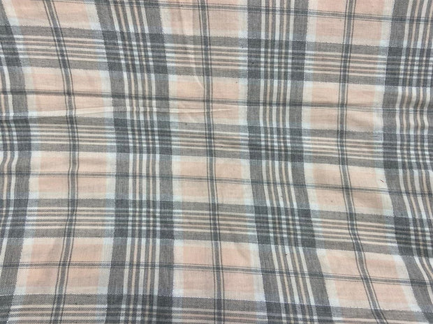 Peach Gray Checks Flannel Cotton Fabric | The Design Cart