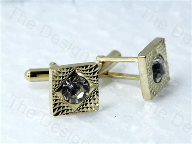 Square Cut with Square Design Golden Metallic Cufflinks (1364871086114)