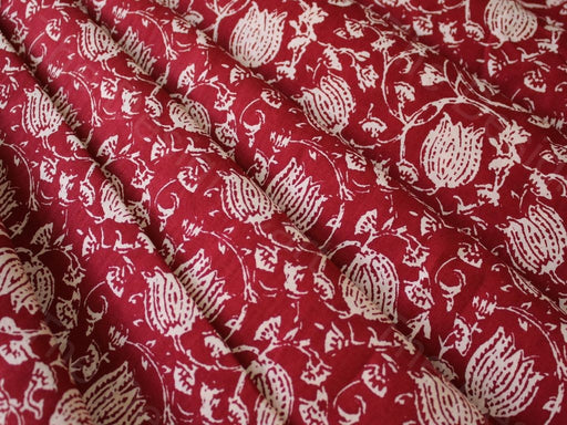 Red Lotus Design Cotton Fabric