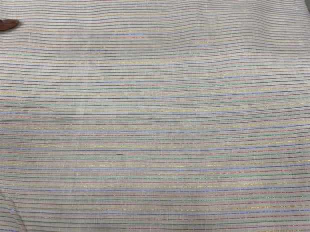 White Multicolour 2 Lurex Stripes Dyeable Cotton Voile Fabric | The Design Cart