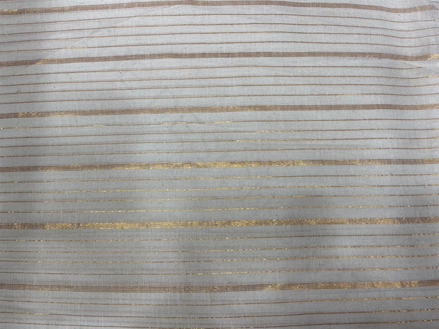 Off White Golden Pattern Lurex Stripes Dyeable Cotton Voile Fabric | The Design Cart