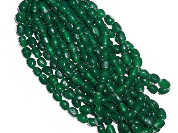 Dark Green Oval Tumble Glass Beads | The Design Cart