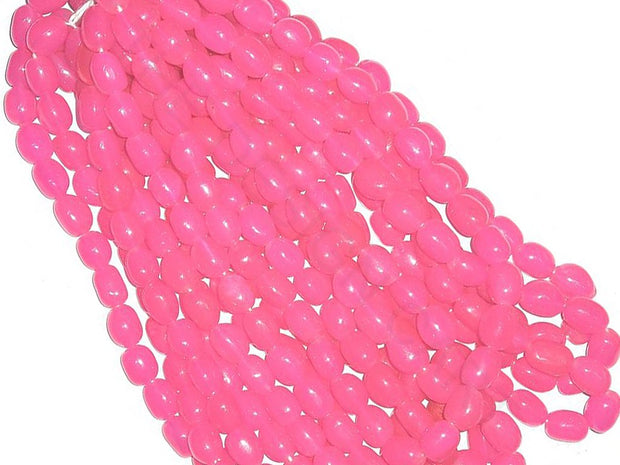 Light Pink Oval Tumble Glass Beads | The Design Cart