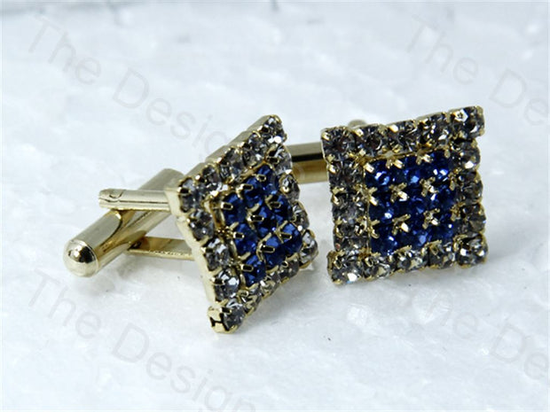 Square 3 Rows Stones Design Golden Blue Metallic Cufflinks (1364871544866)