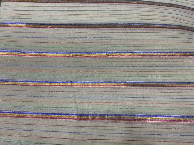 Off White Multicolour Golden Blue Lurex Stripes Dyeable Cotton Voile Fabric | The Design Cart
