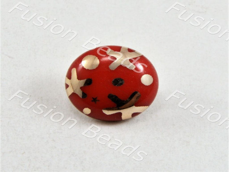 Red Starfish UV Metallic Finsih Button (376446517282)
