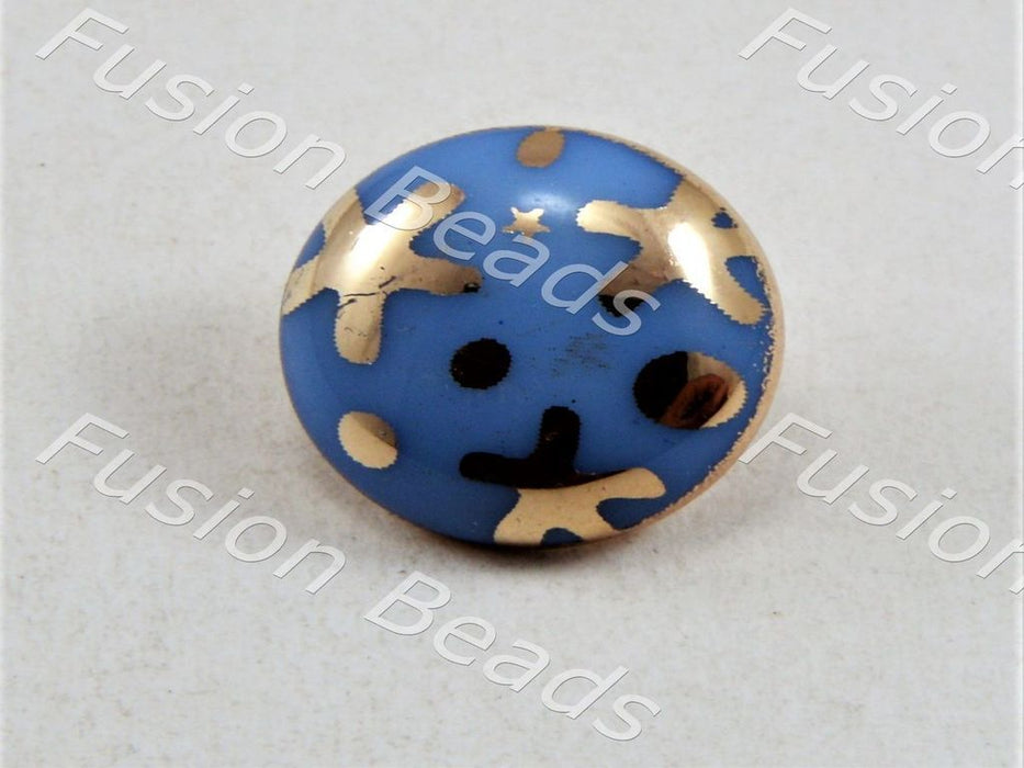 Aqua Blue Starfish UV Metallic Finsih Button