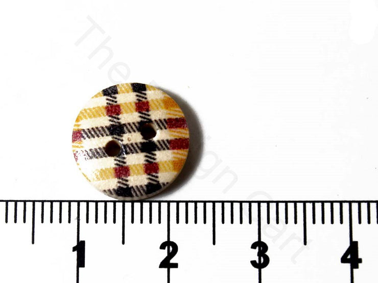 Yellow Black Checks Design Wooden Buttons (1722814038050)