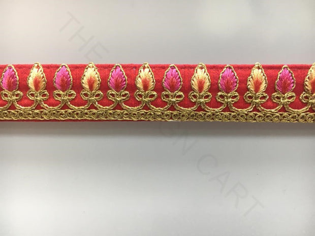 Rose Red Thread Work with Zari Embroidered Laces | The Design Cart