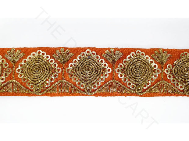 Orange Sequins Zari Work Embroidered Border | The Design Cart