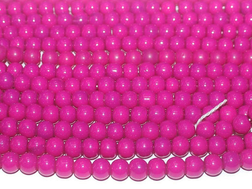 Hot Pink Circular Glass Beads