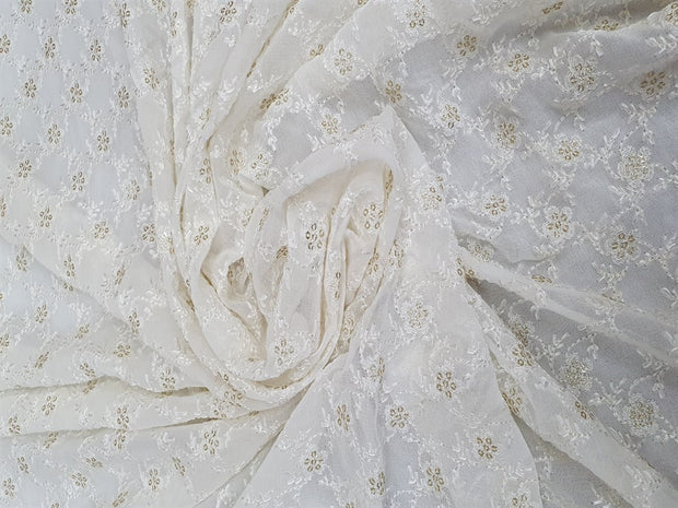 White Dyeable Flower Georgette Fabric | The Design Cart