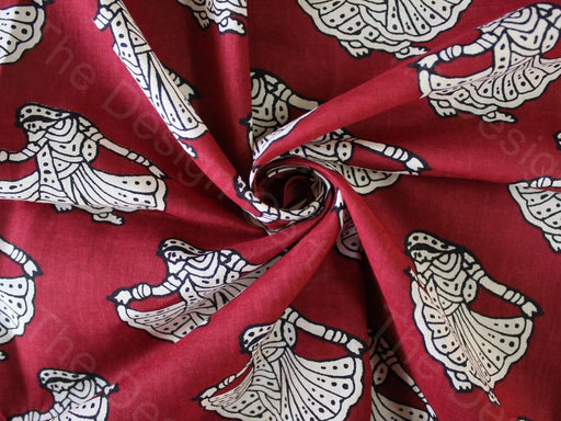 Red Tribal Design Cotton Fabric
