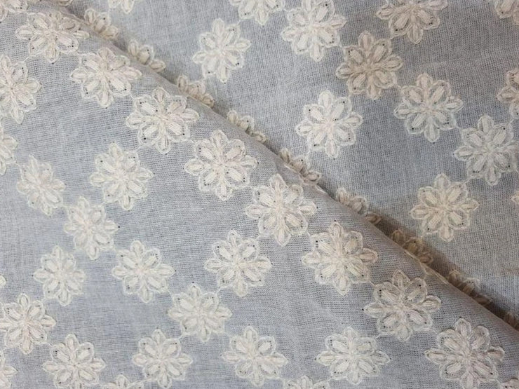 White Floral Dyeable Embroided Pure Cotton Fabric (4505663406149)