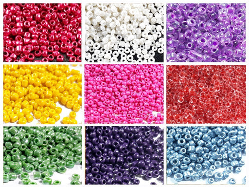 Assorted Opaque & Transparent Round Seed Beads Combo