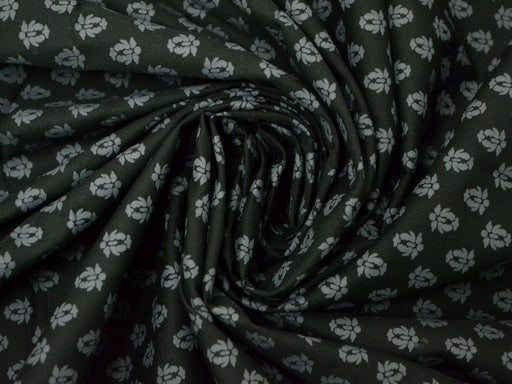 Black Gray Floral Printed Cotton Poplin Fabric