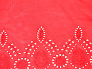 Red Cutwork Embroidered Border Rayon Fabric | The Design Cart