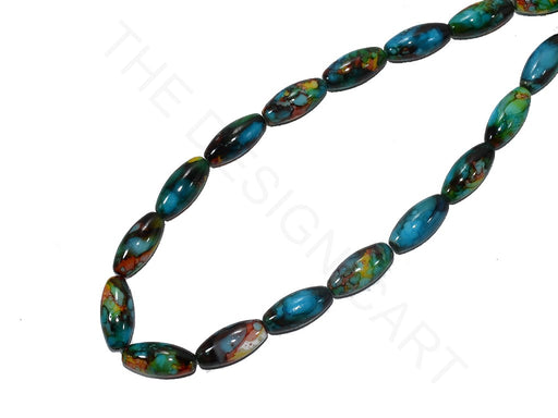 Blue Black Oval Glass Pearls
