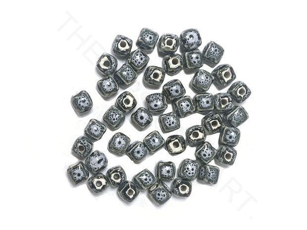 Gray Blue Cubical Ceramic Beads (4323287662661)