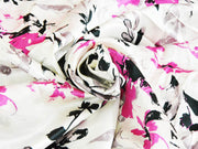 Precut Floral Digital Printed Satin Fabric