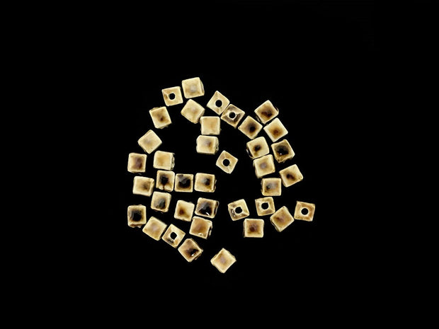 Brown Yellow Cubical Ceramic Beads (4323288055877)