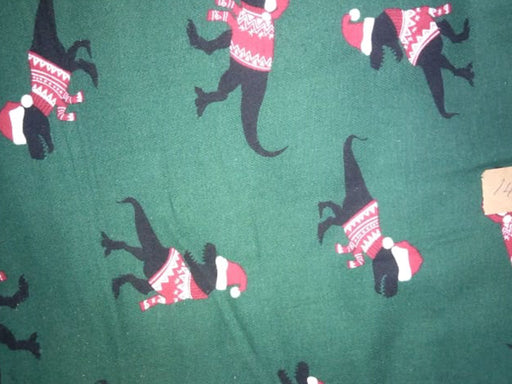 Dark Green Dinosaurs Print Flannel Cotton Fabric