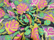 Black Pink Flower Design Embroidedred Georgete Fabrics