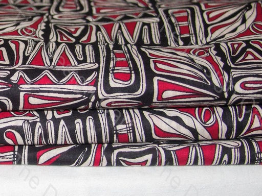 Black and Maroon Abstract Design Cotton Fabric