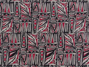 Black and Maroon Abstract Design Cotton Fabric | The Design Cart