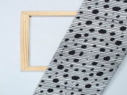 White And Black Polka Dots Design Polyester Crepe Fabric
