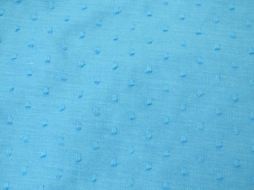 Sapphire Blue Dobby Embroidered Cotton Fabric