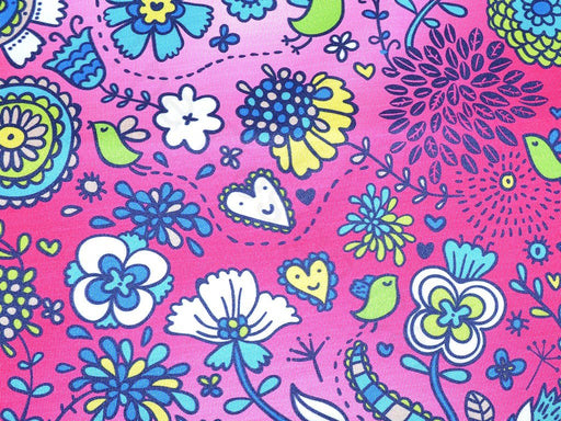 Pink Multicolour Floral Design Polyester Lycra-Single Jersey Fabric