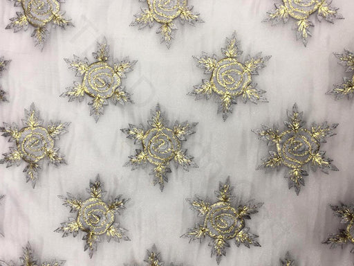 Gray Floral Organza Embroidered Fabric