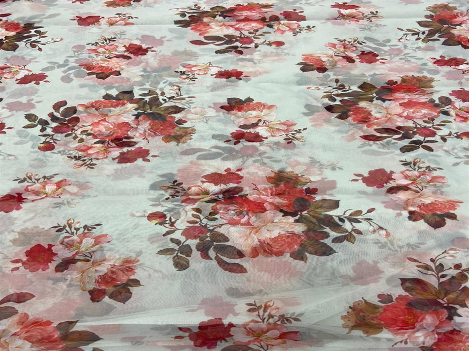 White Red Floral Organza Fabric
