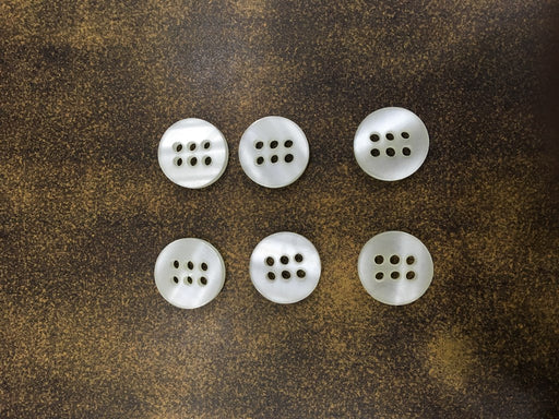 White 6 Hole Design 31 Polyester Shirt Buttons