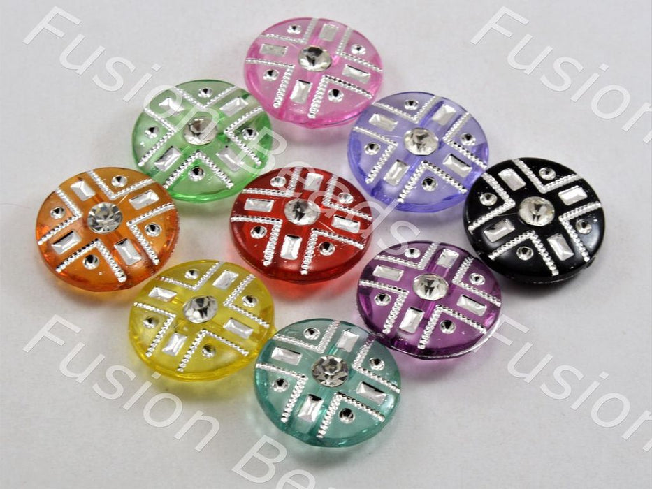 Assorted Pack Of Crystal Buttons With Glass Stones