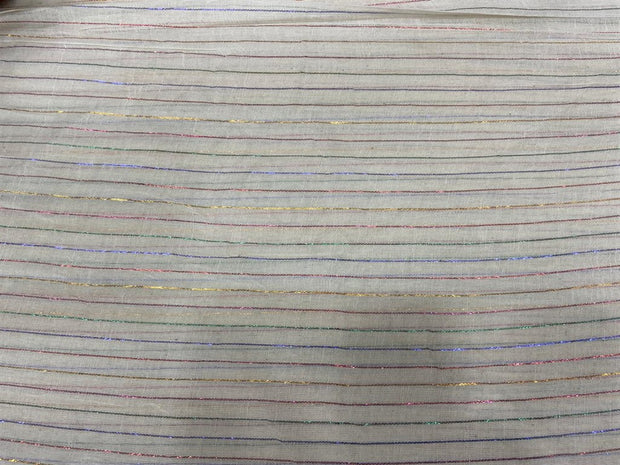 Off White Multicolour 5 Lurex Stripes Dyeable Cotton Voile Fabric | The Design Cart